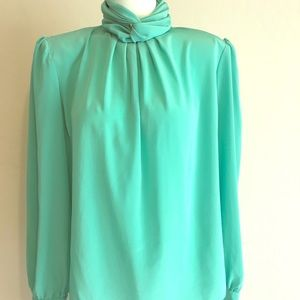 Vintage Anna Kriste High Neck Button Blouse